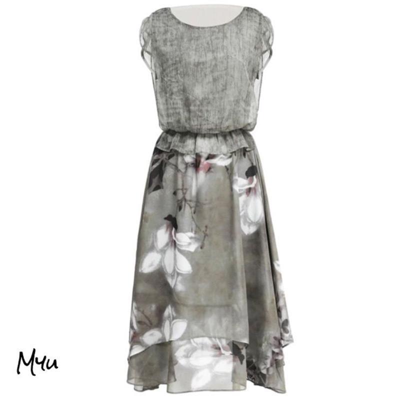 受注発注【LADIES】Flower chiffon dress