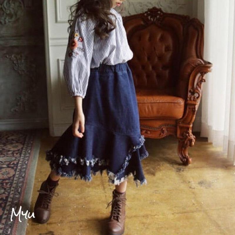 即納【110〜150cm】2way flower embroidery blouse&Denim skirt