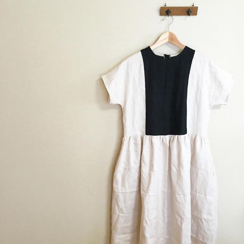 リネン バイカラー ツートン ワンピース ドレス