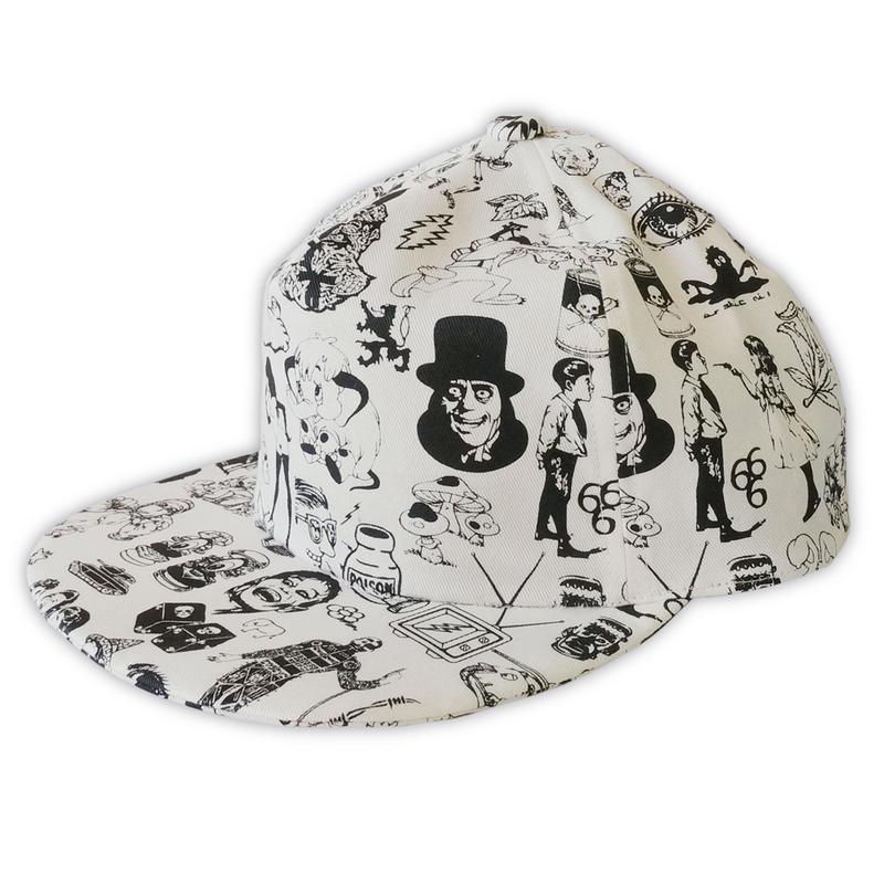 Original silk print cap / Wht
