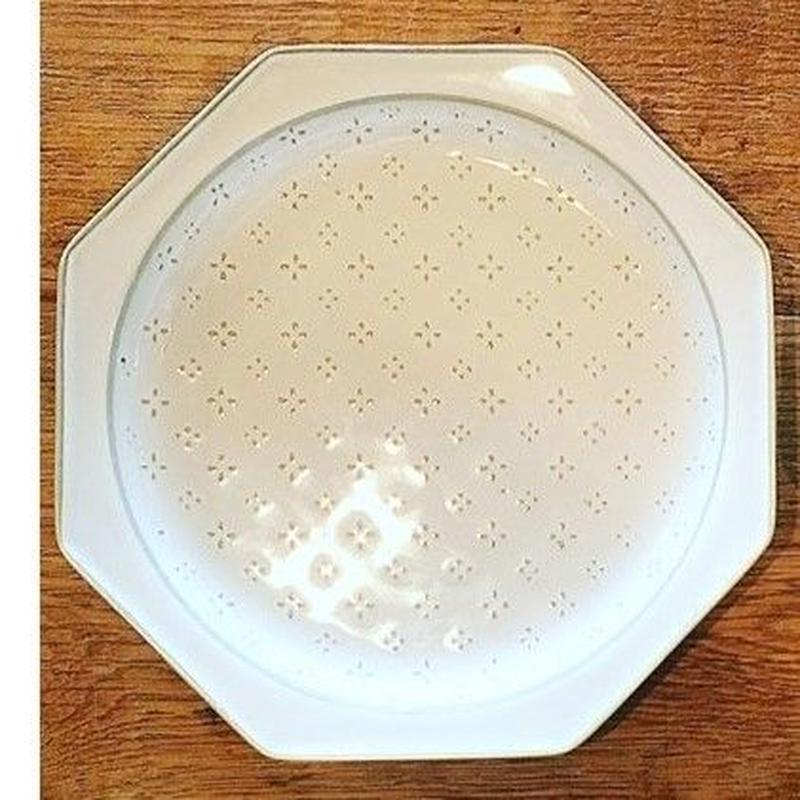 八角花皿 ホワイト