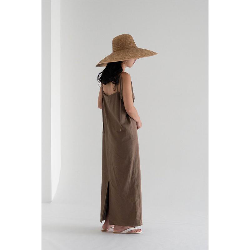 Linen slit dress