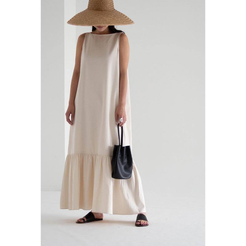 Reversible flare dress_Ivory