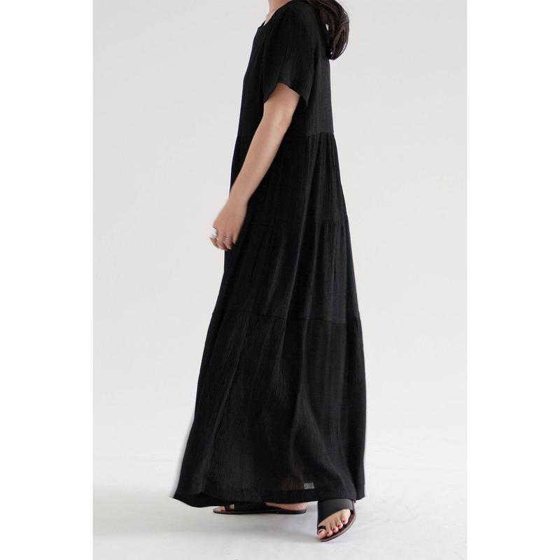 Shirring long dress