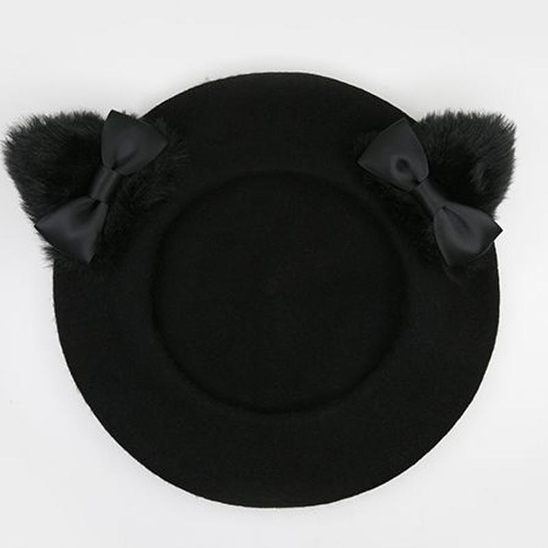 リボン付き黒猫耳ベレー帽