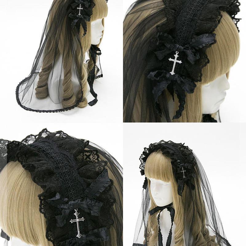 【4色】十字架ベールヘッドドレス