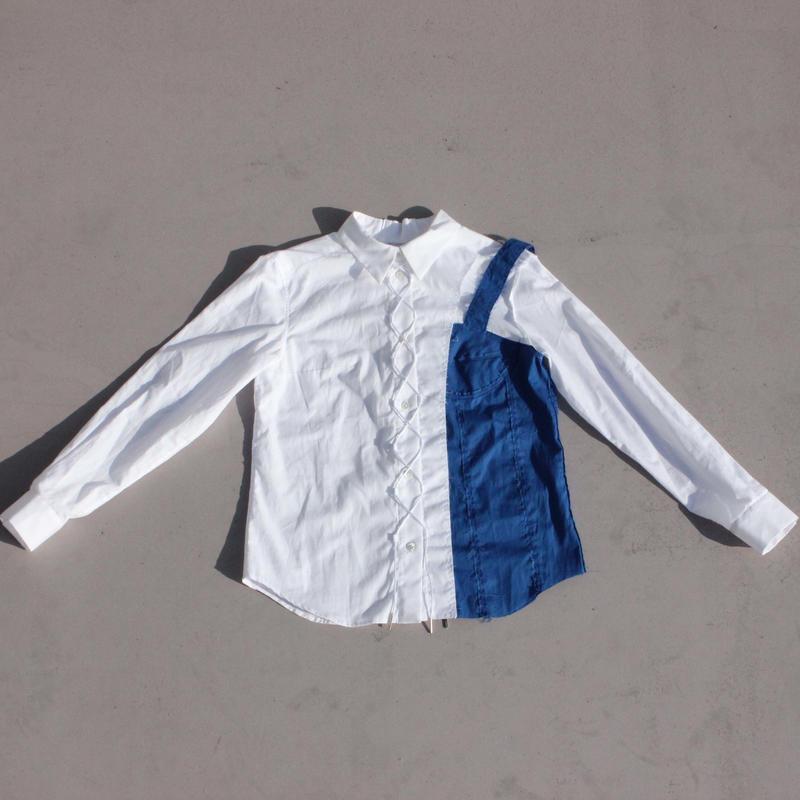 《Akihide  Nakachi》インフォールド シャツ -Blue-