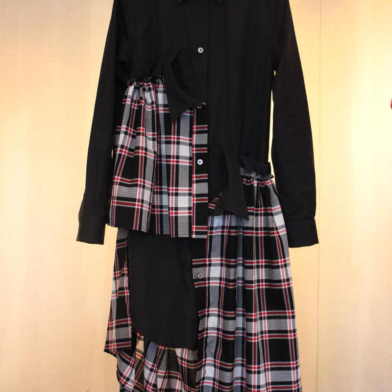 《Akihide  Nakachi》アシンメトリーロングシャツ Black