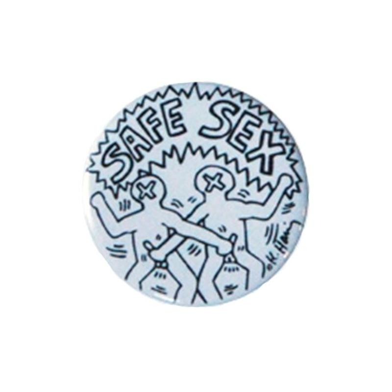 Keith Haring Round Magnet (Safe Sex)