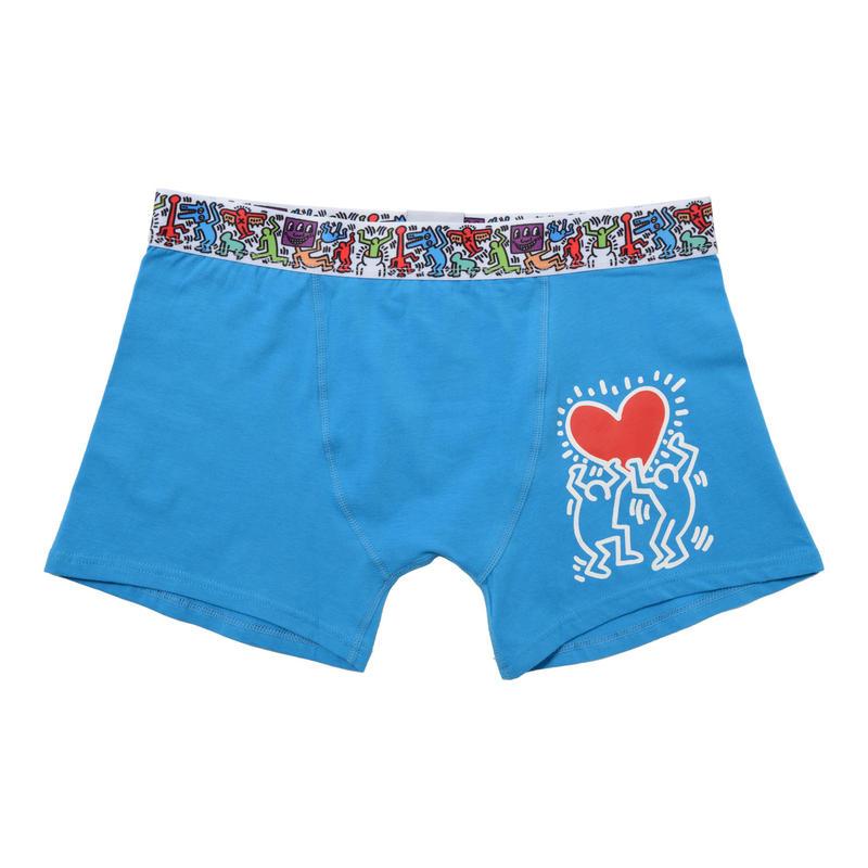 Clothmania x Keith Haring  メンズ ボクサーパンツ (Base Made UW KH007 Blue)