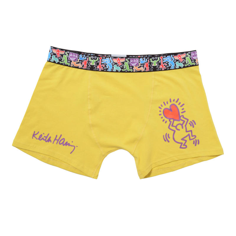 Clothmania x Keith Haring  メンズ ボクサーパンツ (Base Made UW KH009 Yellow)