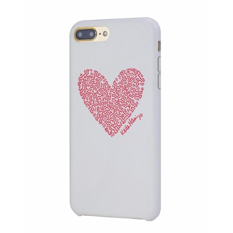 Keith Haring Collection PU Case for iPhone 7 Plus (Heart/White × Red)
