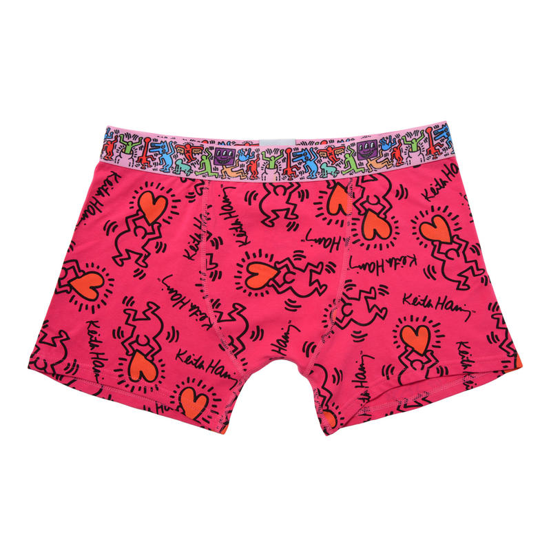 Clothmania x Keith Haring  メンズ ボクサーパンツ (Base Made UW KH008 Red)