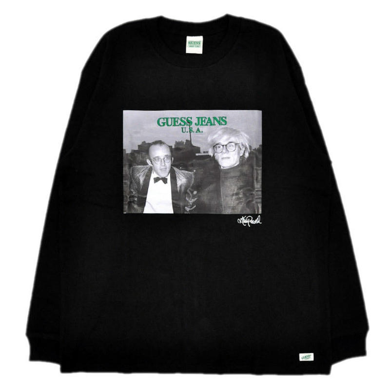 GUESS GREEN LABEL Keith Haring & Andy Warhol Long Sleeve Tee (Black)
