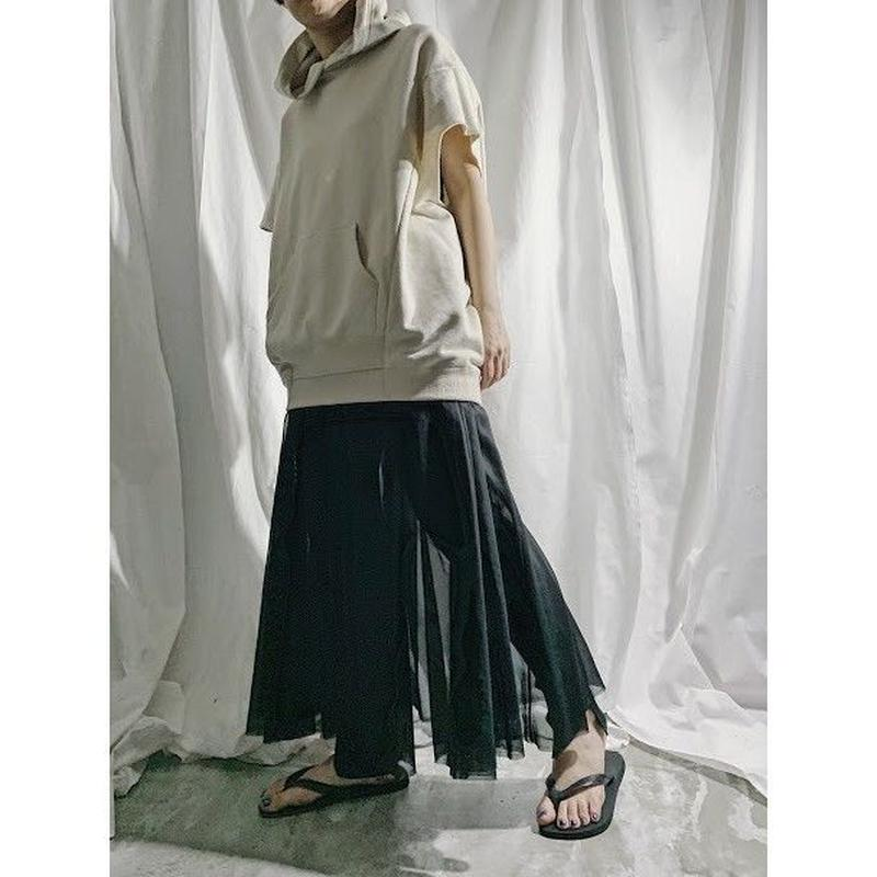 organdy gather skirt  (black)