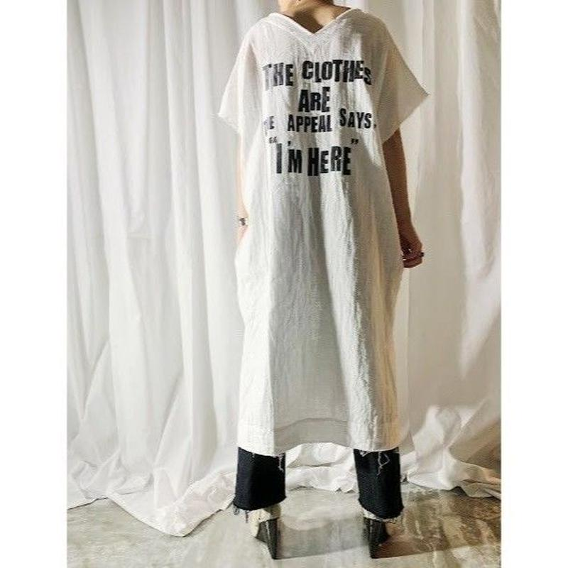 gauze logo print dress  (off white)