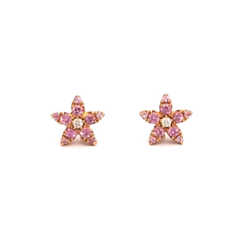 お花 ピンクサファイアピアス