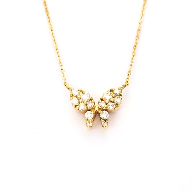 蝶々 ダイヤネックレス