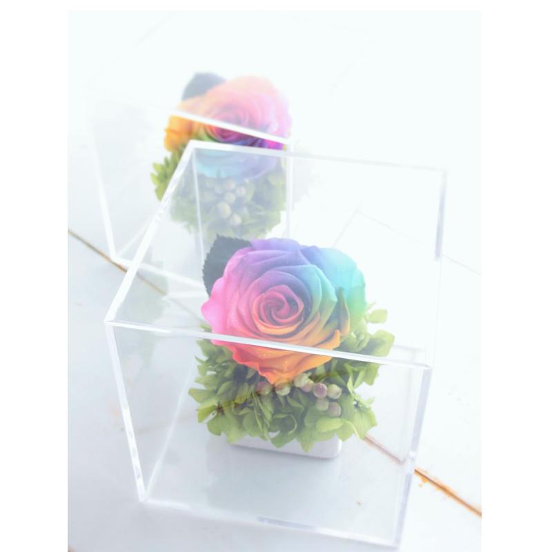 レインボーローズ プリザーブドフラワー ギフト クリアボックス Rainbowcollar プリザーブドフラワー プレゼント 誕生日 記念品 母の日 父の日 贈呈品 ブライダルギフト 結婚式