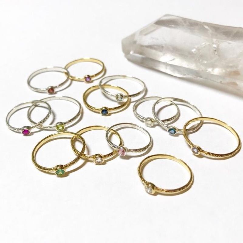 【受注商品】K10 Birthday stone pattern ring〈エメラルド/ルビー/サファイア〉