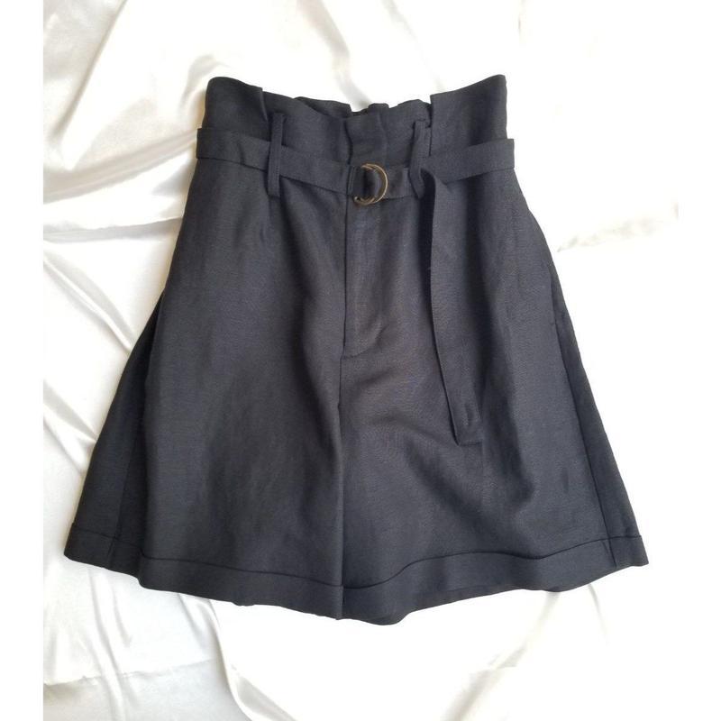 GALENA 麻ショートパンツ  黒