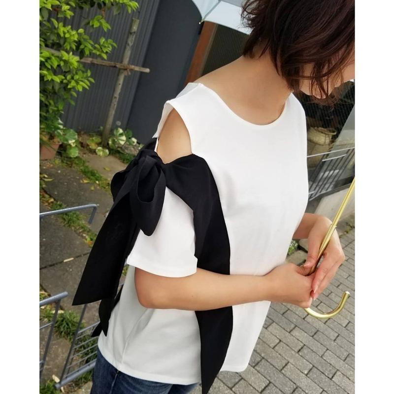 [7月上旬再入荷予定!]LHELBIE アシメリボンTシャツ 白 黒