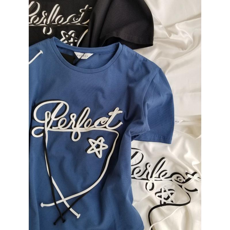 GALENA ロゴ半袖コットンTシャツ 白 ブルー 黒