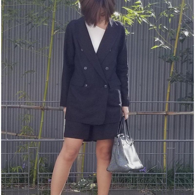 GALENA 麻ダブルジャケット オーバーサイズ  黒 ベージュ