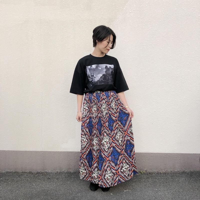 【style zampa】スカーフ柄プリーツロングスカート