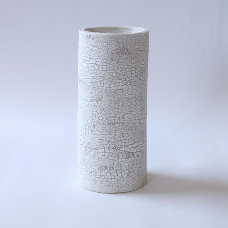 白い大地series flower vase-L-gray