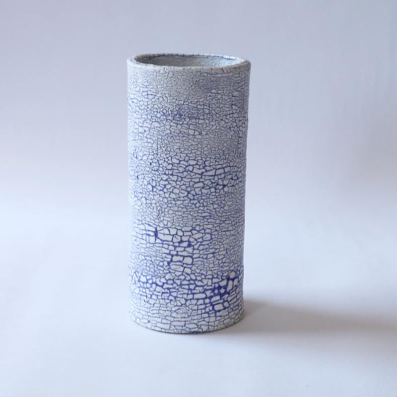 白い大地series-flower vase L-blue