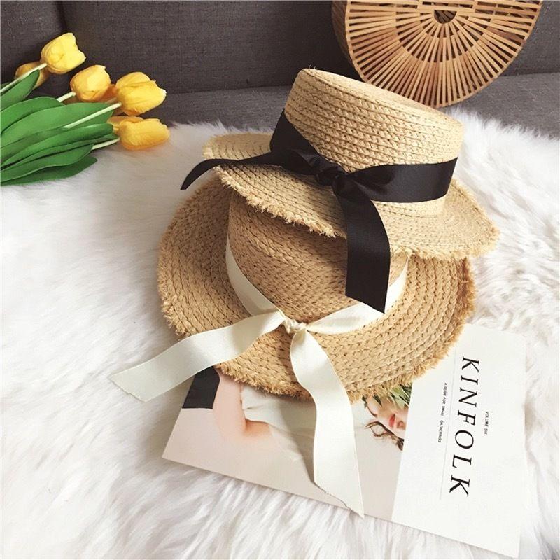 リボン付き ラフィア帽子 2色展開