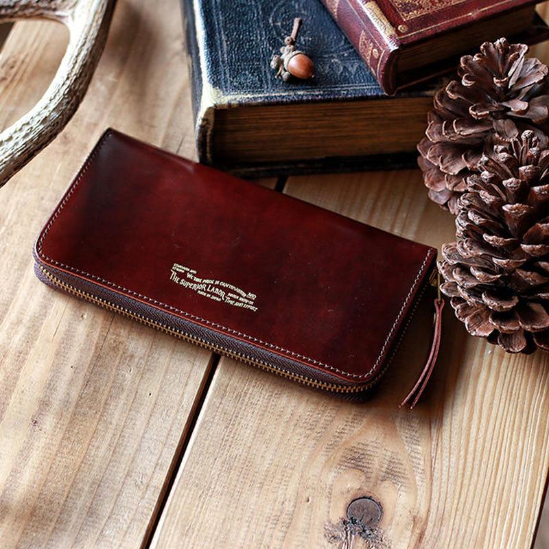 【THE SUPERIOR LABOR 】cordovan zip long wallet -BURGUNDY-