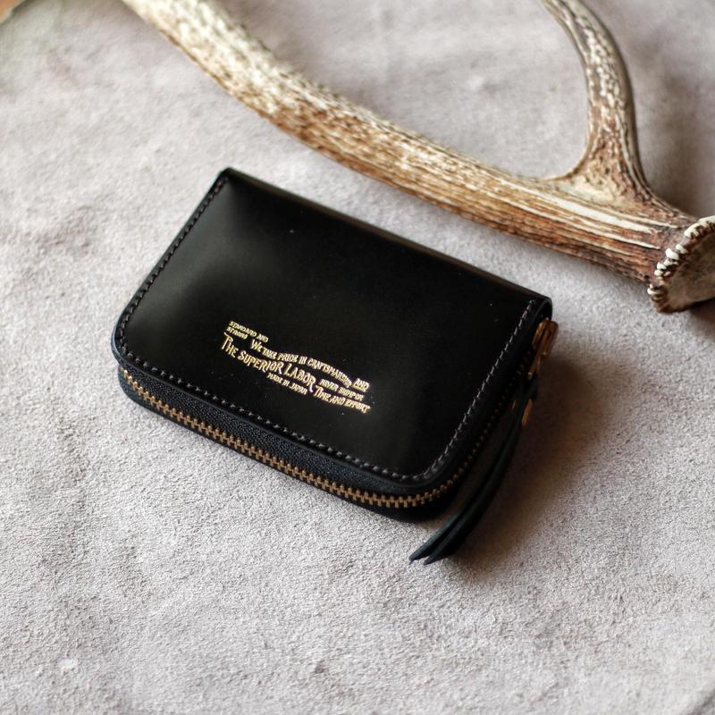 【THE SUPERIOR LABOR 】cordovan zip small wallet  -BLACK-