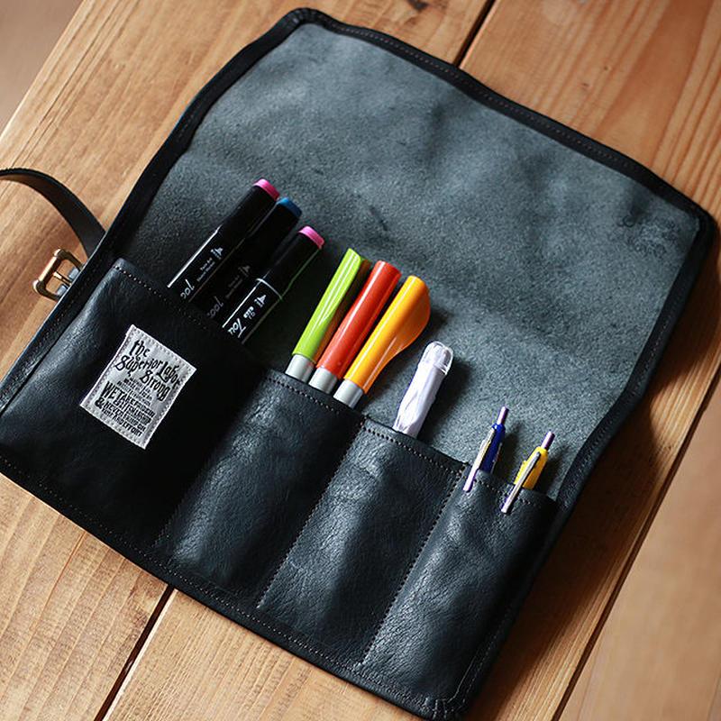 【THE SUPERIOR LABOR】leather roll pen case(black)