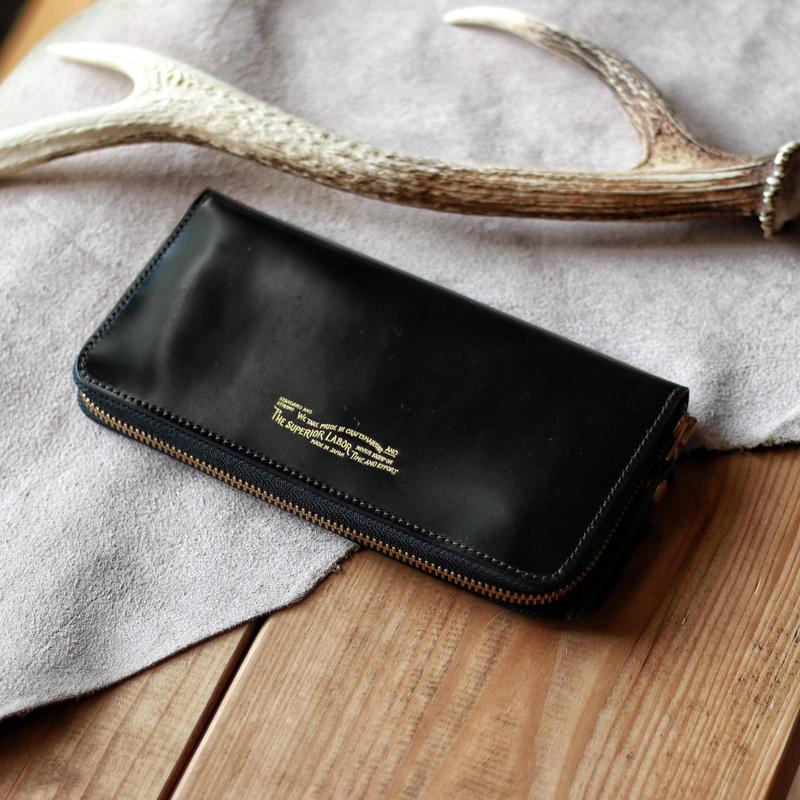 【THE SUPERIOR LABOR 】cordovan zip long wallet  -BLACK-