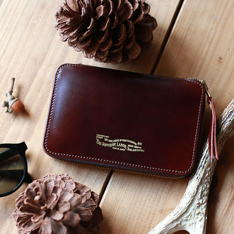 【THE SUPERIOR LABOR 】cordovan zip midlle wallet -BURGUNDY-