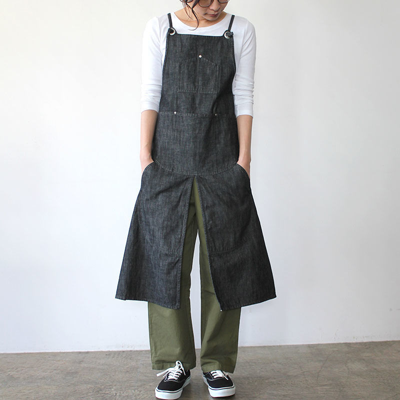【直営店限定】SPLIT APRON DENIM_BLACK