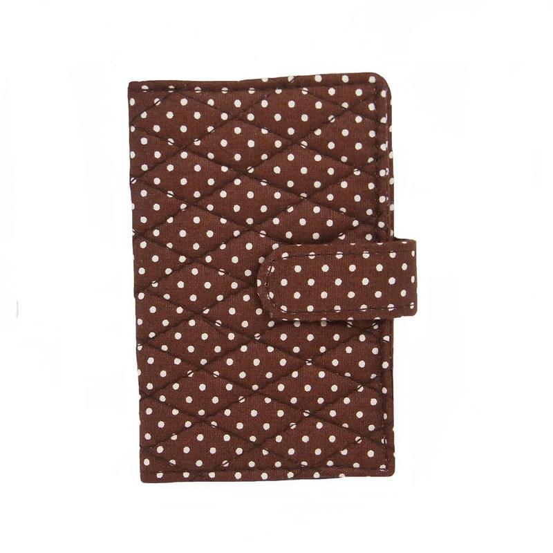 NaRaYa(ナラヤ) 12枚クリアーファイル付カードケース・ブラウン(ホワイトドット) NB-311