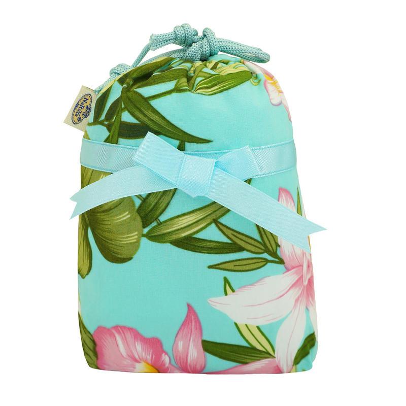 NaRaYa(ナラヤ) 巾着袋ポーチ(ランジェリーポーチ トラベルポーチ)・リゾート(ミントグリーン) NB-258/S