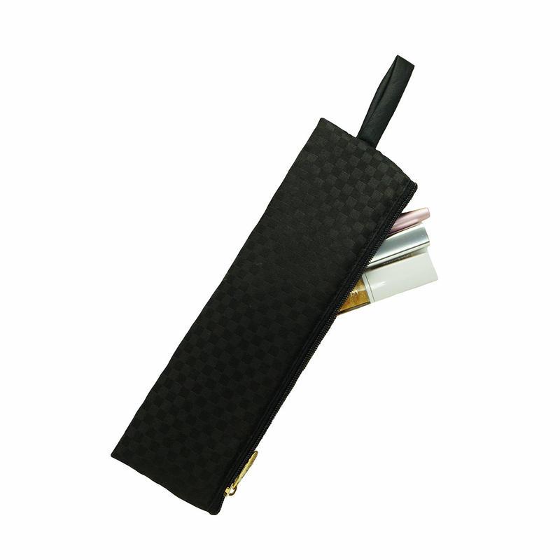 ナラヤ(NaRaYa) 細型コスメケース (収納ケース)M・ミニチェック柄(ブラック) NBCS-166A