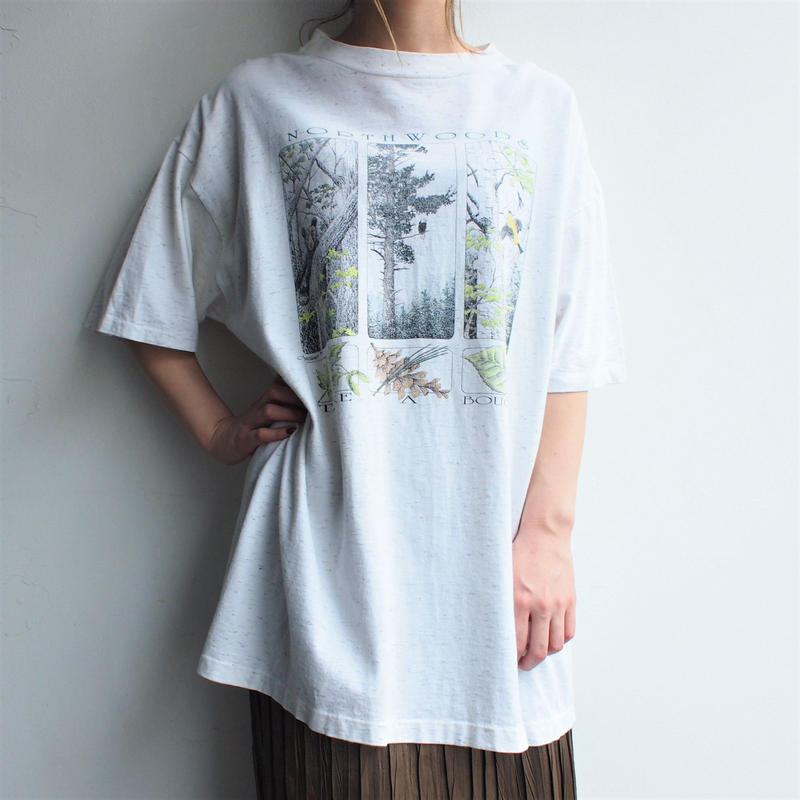 杢地T-shirt Forest print  Made in USA