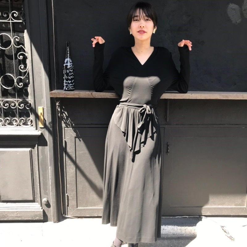 Black cascade dress
