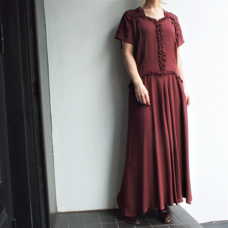 1980's Red copper gathered dress