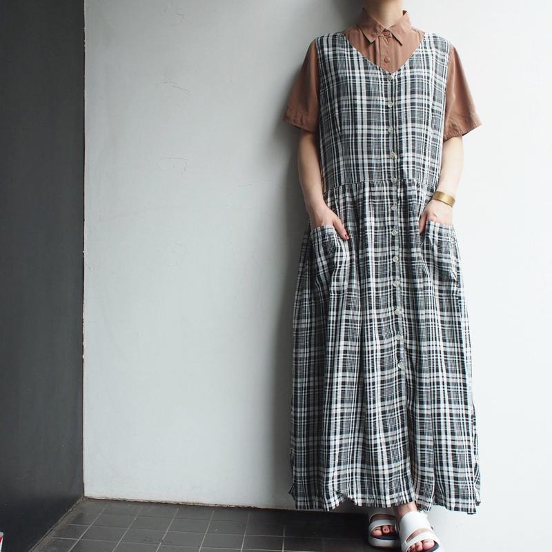 Open front Black plaid dress