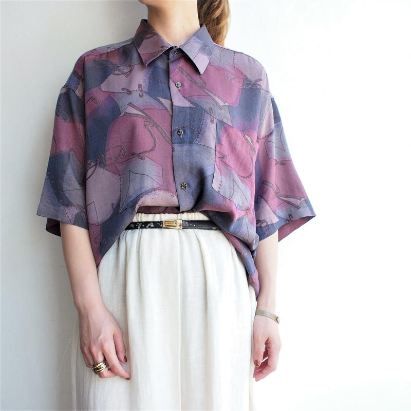 【Christian Dior】Silk Glasses printed shirt