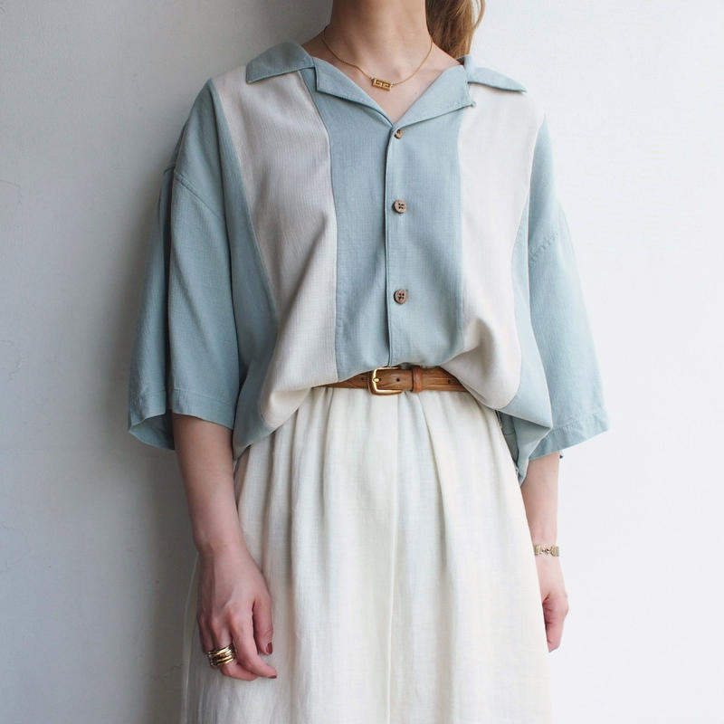 Silk Open collar shirt light blue
