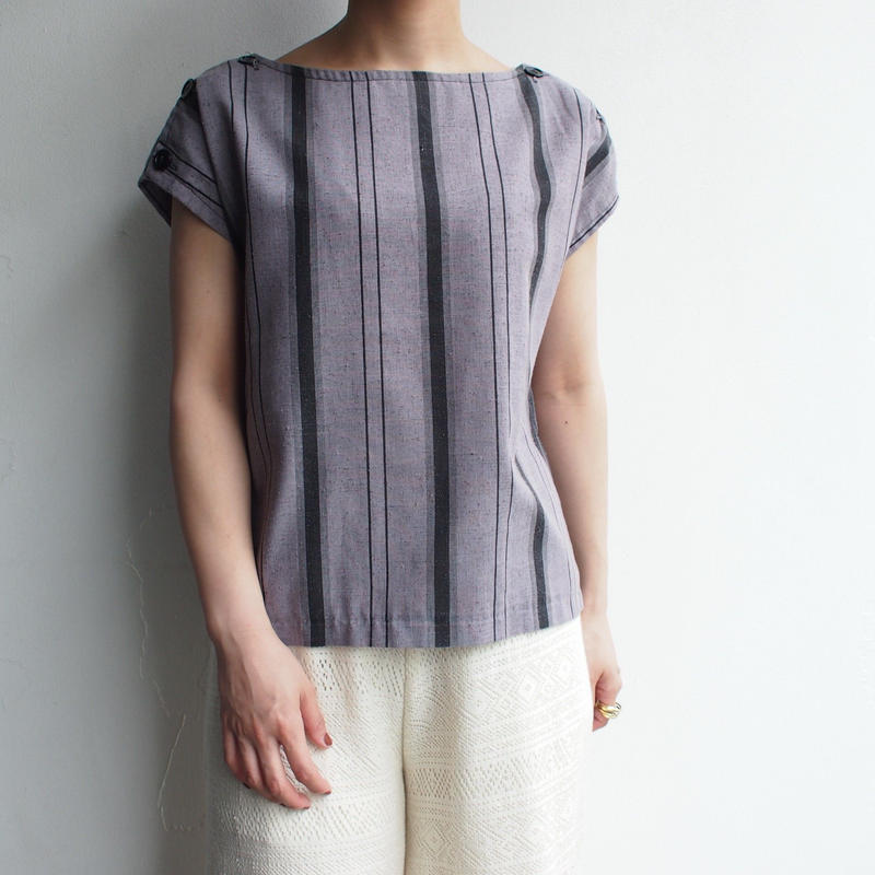 Gray ×Black stripe blouse Made in USA