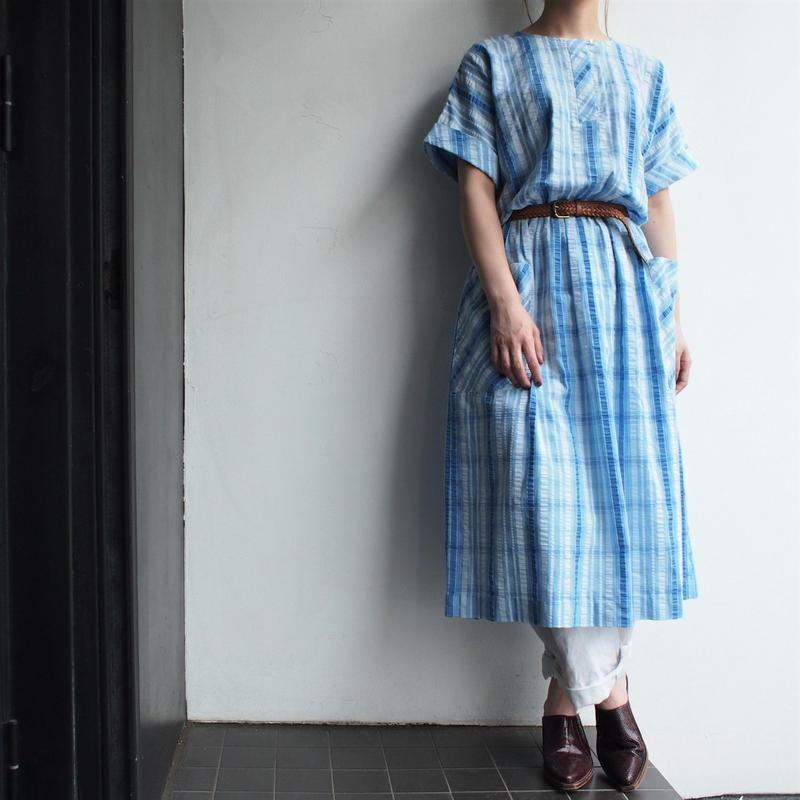 Seersucker blue plaid dress