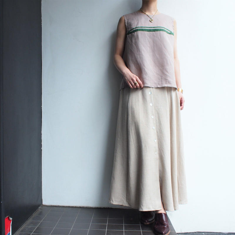 Made in USA Open-front Linen混 skirt